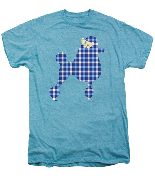 Men's Premium T-Shirt featuring the mixed media French Poodle Plaid by Christina Rollo