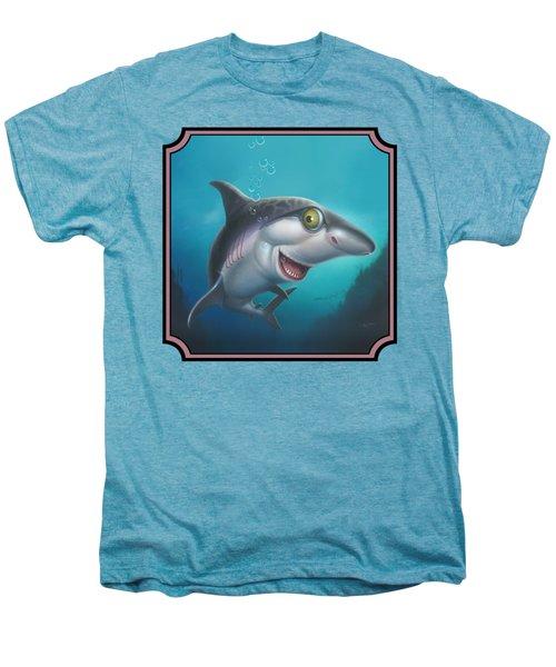 Friendly Shark Cartoony Cartoon - Under Sea - Square Format Men's Premium T-Shirt by Walt Curlee