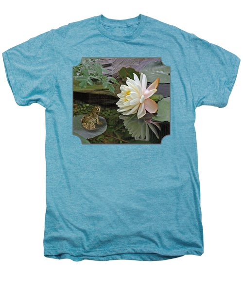 Frog In Awe Of White Water Lily Men's Premium T-Shirt by Gill Billington