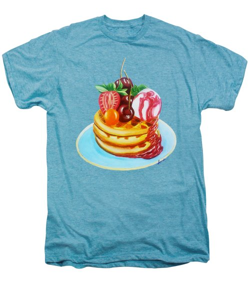 Fruity Waffles Served With Ice Cream And Strawberry Sauce Men's Premium T-Shirt by Sonja Taljaard