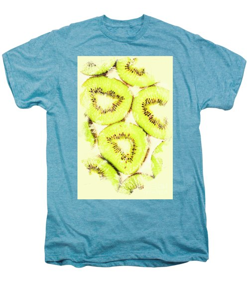 Full Frame Shot Of Fresh Kiwi Slices With Seeds Men's Premium T-Shirt