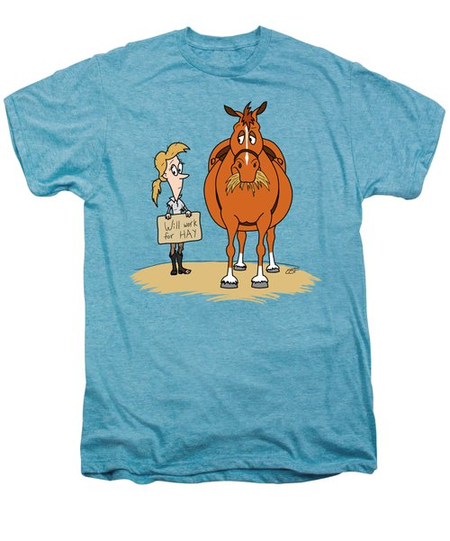 Funny Fat Cartoon Horse Woman Will Work For Hay Men's Premium T-Shirt