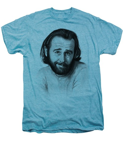 George Carlin Portrait Men's Premium T-Shirt by Olga Shvartsur
