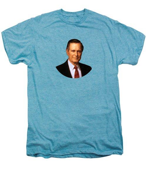 George Hw Bush Presidential Portrait Men's Premium T-Shirt by War Is Hell Store