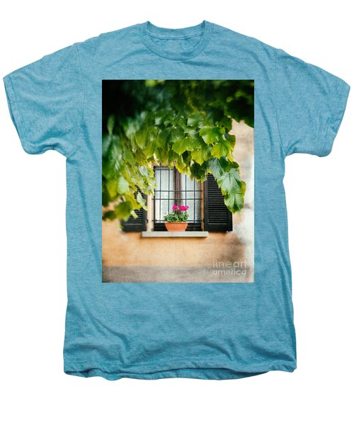 Men's Premium T-Shirt featuring the photograph Geraniums On Windowsill by Silvia Ganora