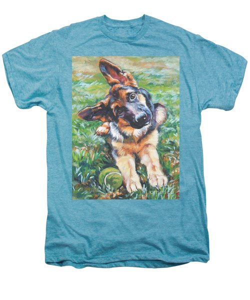 German Shepherd Pup With Ball Men's Premium T-Shirt