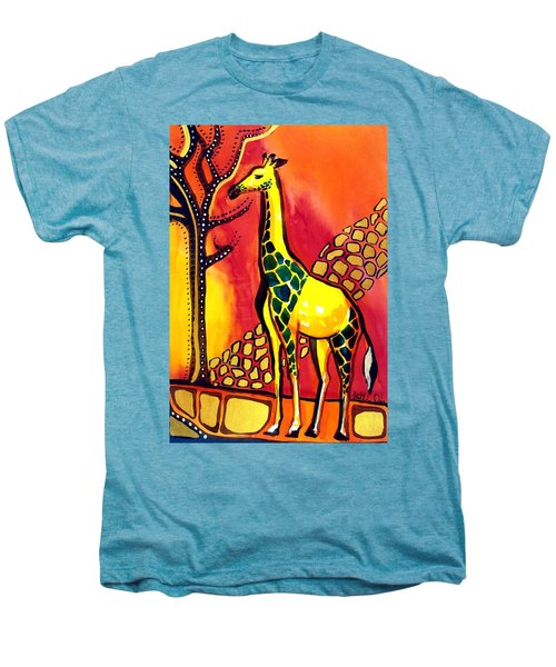 Giraffe With Fire  Men's Premium T-Shirt by Dora Hathazi Mendes