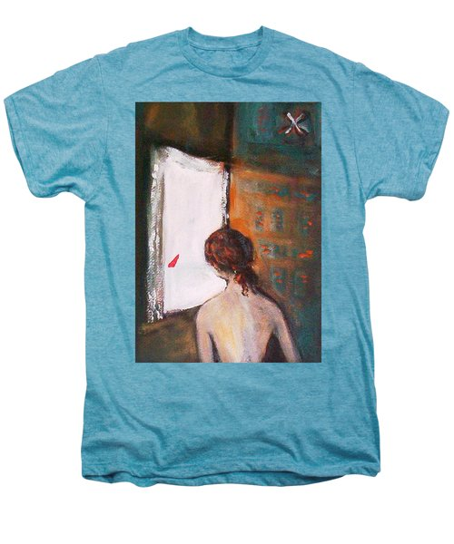Men's Premium T-Shirt featuring the painting Girl At The Window by Winsome Gunning