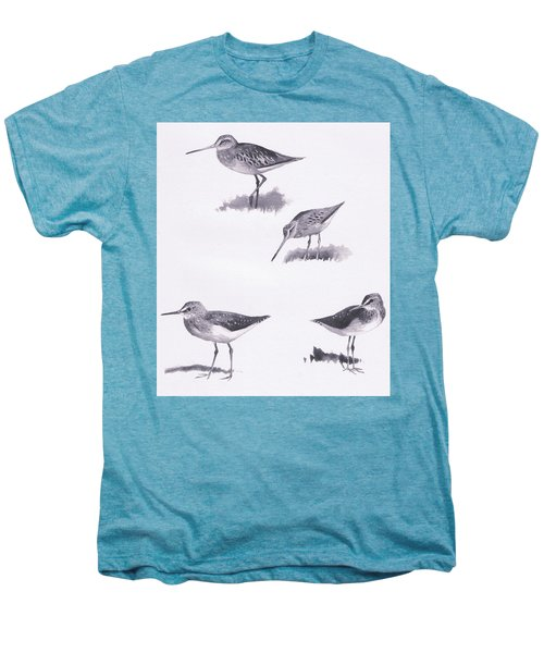 Godwits And Green Sandpipers Men's Premium T-Shirt by Archibald Thorburn