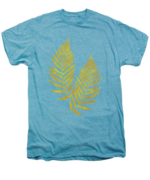 Men's Premium T-Shirt featuring the mixed media Gold Fern Leaf Art by Christina Rollo