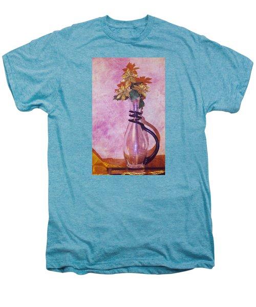 Gold Flowers Pink Background Men's Premium T-Shirt