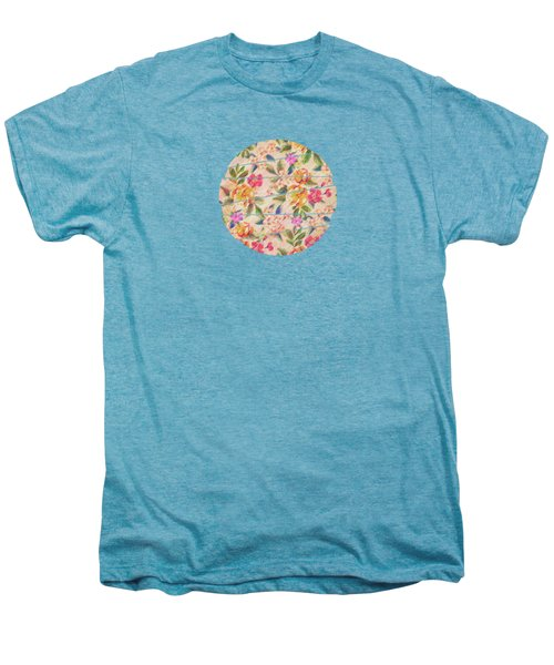 Golden Flitch Digital Vintage Retro  Glitched Pastel Flowers  Floral Design Pattern Men's Premium T-Shirt