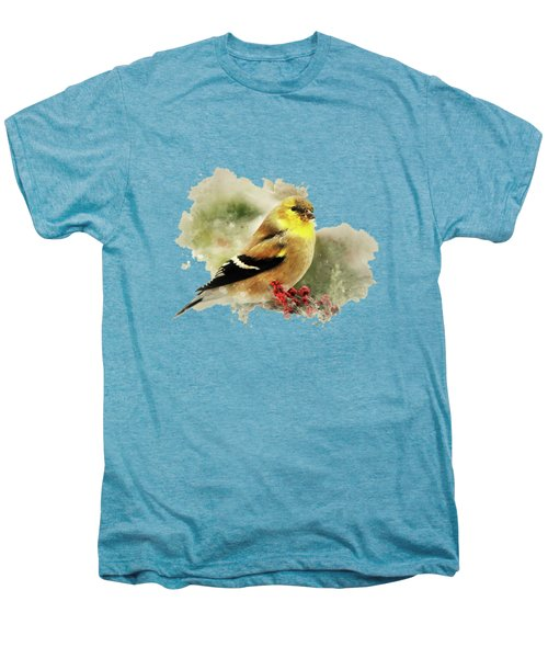 Goldfinch Watercolor Art Men's Premium T-Shirt by Christina Rollo