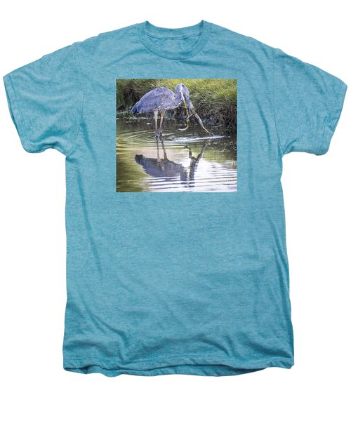 Men's Premium T-Shirt featuring the photograph Great Blue Heron Vs Huge Frog by Ricky L Jones