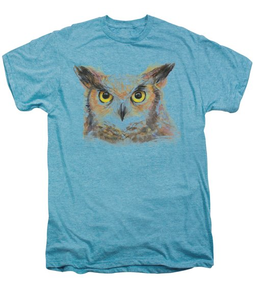 Great Horned Owl Watercolor Men's Premium T-Shirt by Olga Shvartsur