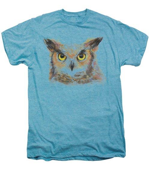 Great Horned Owl Watercolor Men's Premium T-Shirt