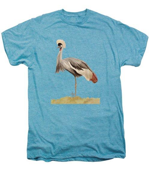 Grey Crowned Crane Men's Premium T-Shirt by Angeles M Pomata