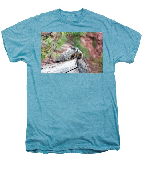 Groundhog On A Log Men's Premium T-Shirt by Jess Kraft