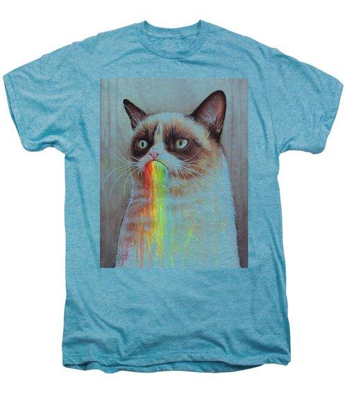 Grumpy Cat Tastes The Rainbow Men's Premium T-Shirt