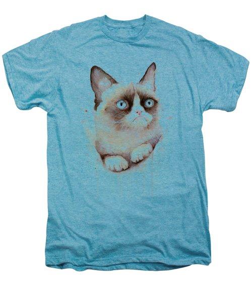 Grumpy Cat Watercolor Men's Premium T-Shirt by Olga Shvartsur