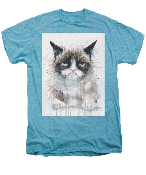 Grumpy Cat Watercolor Painting  Men's Premium T-Shirt by Olga Shvartsur
