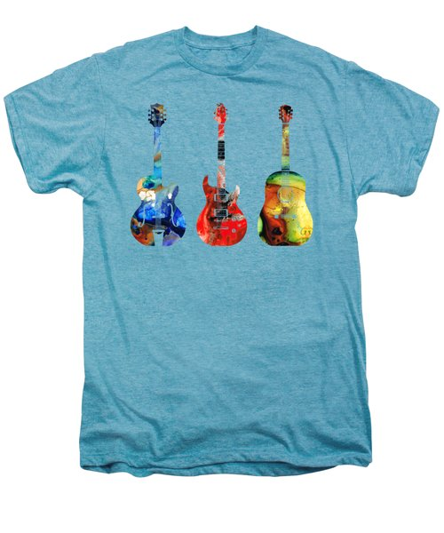Guitar Threesome - Colorful Guitars By Sharon Cummings Men's Premium T-Shirt by Sharon Cummings