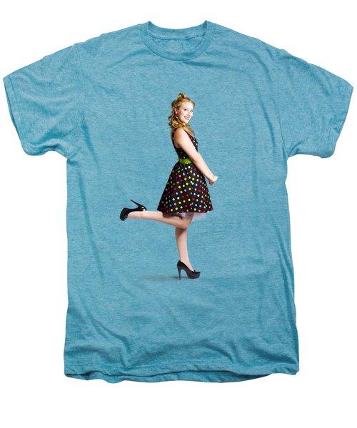 Happy Woman In Retro Dress Men's Premium T-Shirt