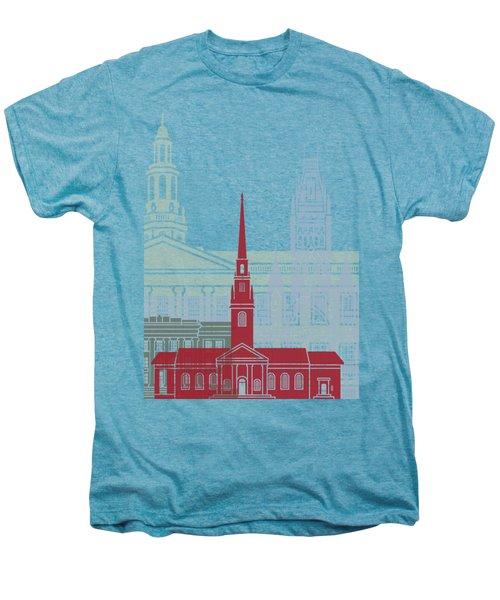 Harvard Skyline Poster Men's Premium T-Shirt by Pablo Romero