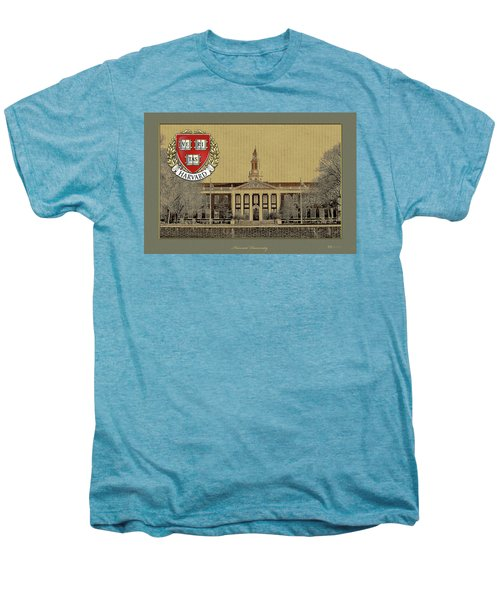 Harvard University Building Overlaid With 3d Coat Of Arms Men's Premium T-Shirt