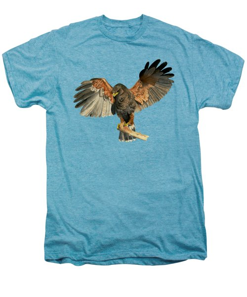 Hawk Flapping Wings Watercolor Painting Men's Premium T-Shirt