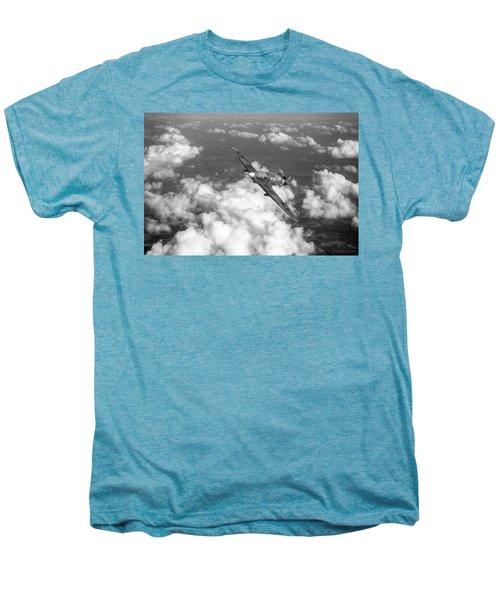 Men's Premium T-Shirt featuring the photograph Hawker Hurricane IIb Of 174 Squadron Bw Version by Gary Eason