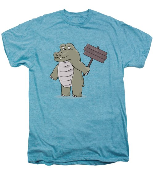 Hippopotamus With Happy Hour Sign Men's Premium T-Shirt