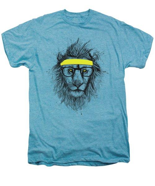 Hipster Lion Men's Premium T-Shirt by Balazs Solti