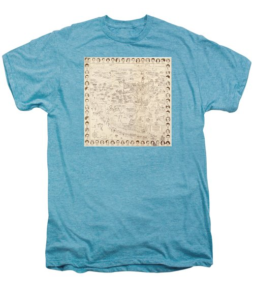 Hollywood Map To The Stars 1937 Men's Premium T-Shirt by Don Boggs