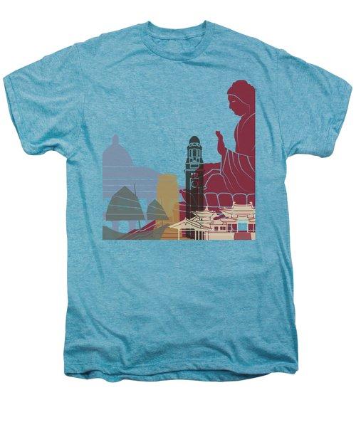 Hong Kong Skyline Poster Men's Premium T-Shirt by Pablo Romero