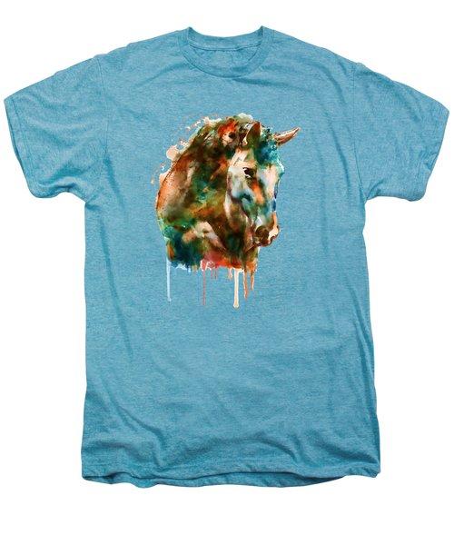 Horse Head Watercolor Men's Premium T-Shirt by Marian Voicu