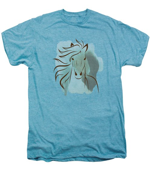 Horse Wall Art - Elegant Bright Pastel Color Animals Men's Premium T-Shirt by Wall Art Prints