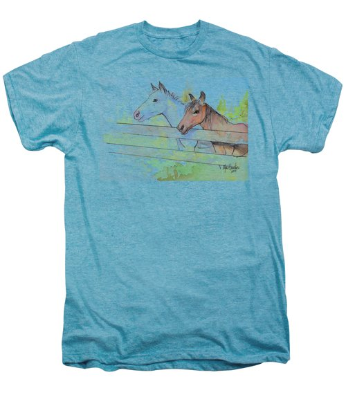 Horses Watercolor Sketch Men's Premium T-Shirt by Olga Shvartsur