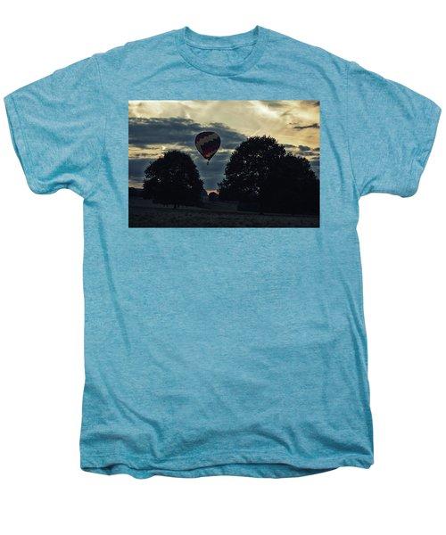 Hot Air Balloon Between The Trees At Dusk Men's Premium T-Shirt