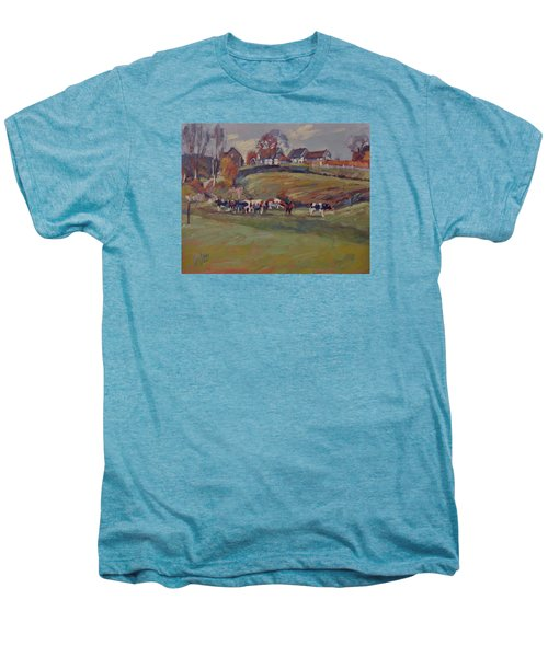 Houses And Cows In Schweiberg Men's Premium T-Shirt