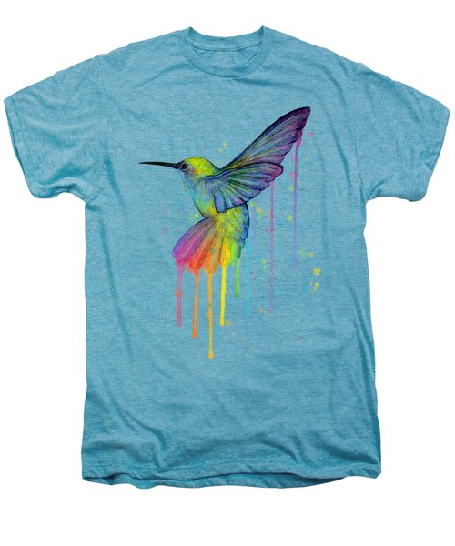 Hummingbird Of Watercolor Rainbow Men's Premium T-Shirt by Olga Shvartsur