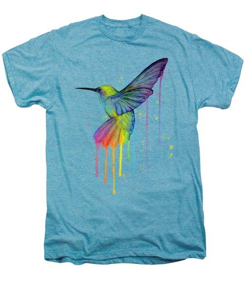 Hummingbird Of Watercolor Rainbow Men's Premium T-Shirt