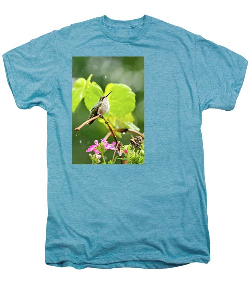 Hummingbird On Vine In The Rain Men's Premium T-Shirt