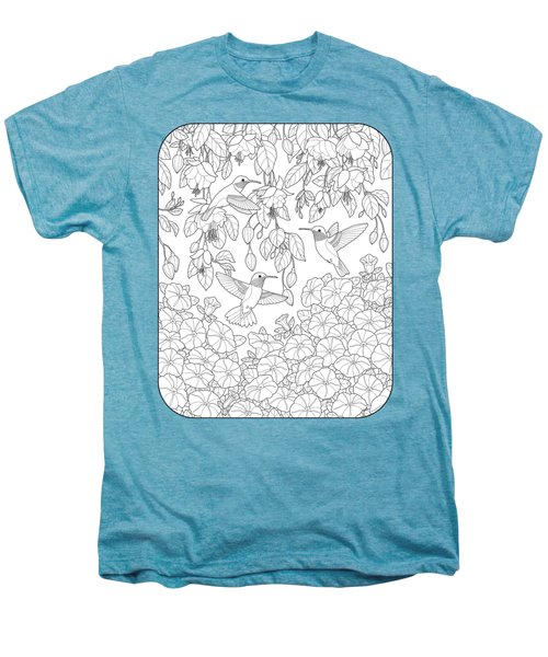 Hummingbirds And Flowers Coloring Page Men's Premium T-Shirt by Crista Forest