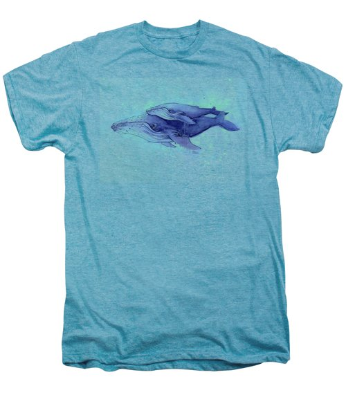 Humpback Whales Mom And Baby Watercolor Painting - Facing Right Men's Premium T-Shirt