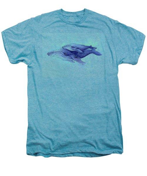 Humpback Whales Painting Watercolor - Grayish Version Men's Premium T-Shirt