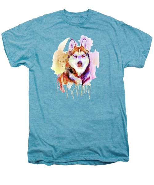 Husky Dog Watercolor Portrait Men's Premium T-Shirt