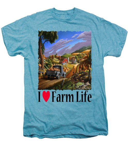 I Love Farm Life - Taking Pumpkins To Market - Appalachian Farm Landscape Men's Premium T-Shirt by Walt Curlee