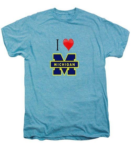 I Love Michigan Men's Premium T-Shirt by Pat Cook