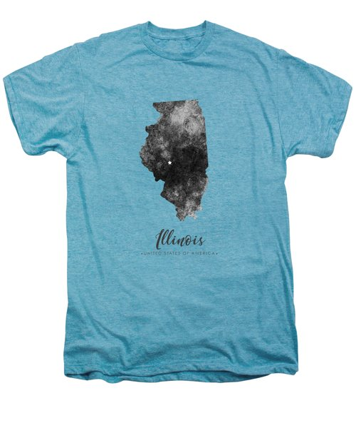 Illinois State Map Art - Grunge Silhouette Men's Premium T-Shirt